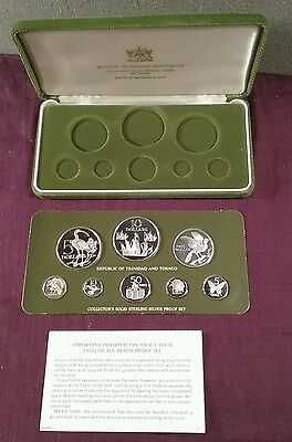 1984 Trinidad and Tobago all sterling silver Proof set sealed board w/box COA
