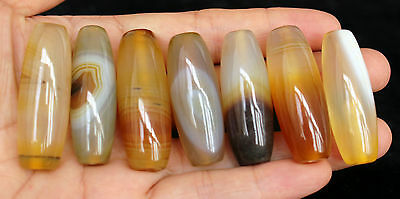 98g 7Pcs Banded Eyed Nepal Indo Tibet Agate Old Bead Amulet for Gift