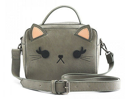 $ New LOUNGEFLY GREY CAT Crossbody Bag Purse 3D EARS Gray Kitten Faux Leather