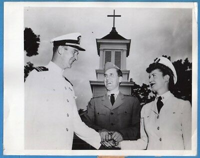 1944 Navy WAVE and Officer Get Married Original Press Photo