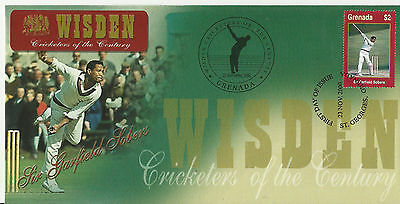 GRENADA WISDEN 2000 CRICKET SIR GARFIELD SOBERS 1v FIRST DAY COVER No 2 of 4