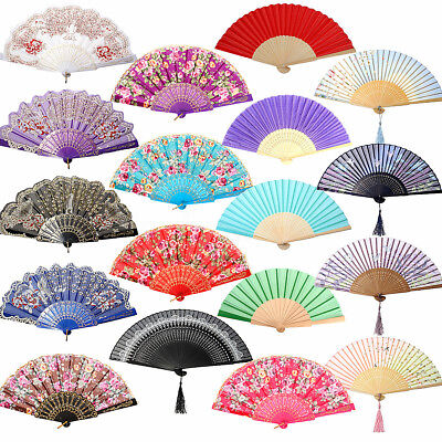 Vintage Chinese Folding Bamboo Cloth Hand Held Pocket Fan Wedding Dancing Party