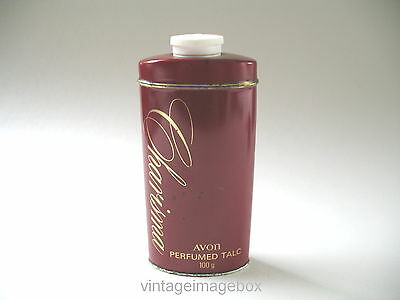 Vintage Avon Charisma Perfumed Talc red gold tin metal bottle 1970s 80s toiletry