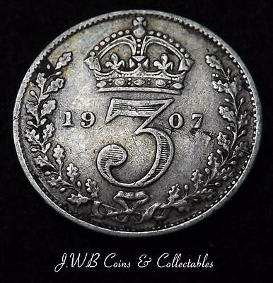 1907 Edward VII Silver Threepence Coin - Great Britain