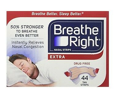 Breathe Right Extra Nasal Strips Tan - 44pk - (Unboxed) US IMPORT
