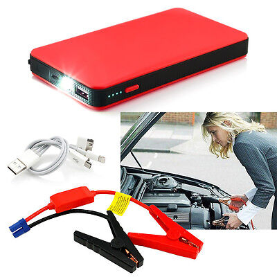 Red Emergency Jump Starter SOS Car Charger Battery Booster Power Bank 20000mAh