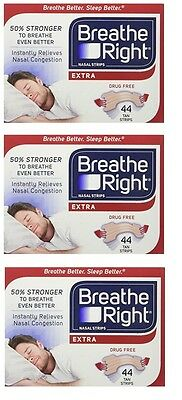 3pk Breathe Right Extra Nasal Strips Tan - 44pk each - (Unboxed) US IMPORT