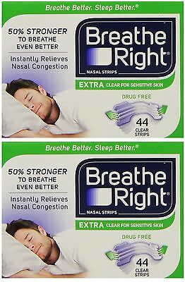 2pk Breathe Right Extra Nasal Strips Clear Sensitive 44pk each (Boxed) US IMPORT