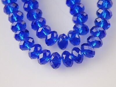 Bulk 200pcs 3x4mm Faceted Rondelle Loose Spacer Crystal Glass Beads Deep Blue