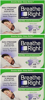3pk Breathe Right Extra Nasal Strips Clear Sensitive 44pk each (Boxed) US IMPORT