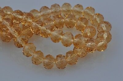 72pcs 8mm Rondelle Faceted Crystal Glass Beads Jewelry Making Gold Champagne