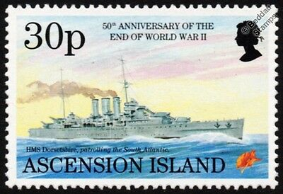 WWII HMS DORSETSHIRE (40) County-Class Heavy Cruiser Warship Stamp