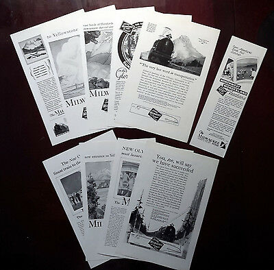 1923-1932 CHICAGO MILWAUKEE ROAD - Lot of 10 vintage Original ADS Railroad print