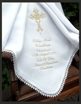 BAPTISM Christening PERSONALISED white ivory baby fleece BLANKET silver gold 9