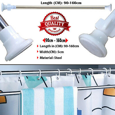 Extendable Telescopic Shower Curtain Rail 90-160cm Pole Rod Bath Window Curtain