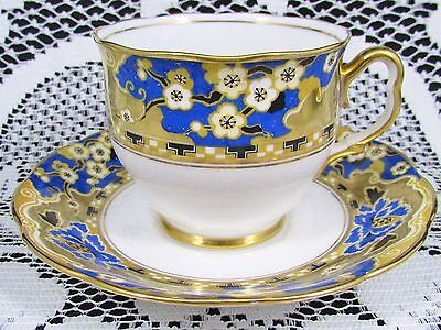 Royal Albert Hawthorne Heavy Gold Gilt Floral Tea Cup And Saucer