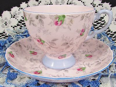 Tuscan Rosebud Pattern Pink With Blue Trim Tea Cup And Saucer
