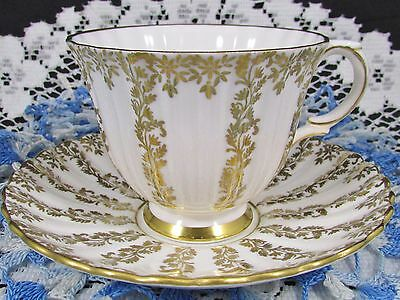 Royal Stafford Bright White Gold Gilt Floral Vine Tea Cup And Saucer