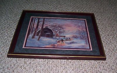 Home Interiors Lee Parkinson Ice Skating Barn Frozen Stream Framed Picture