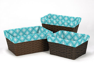 Turquoise Diamond Organizer Storage Kid Basket Liners Fit Small Medium Large Bin