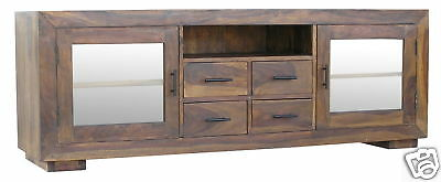Jali Plasma Tv Stand Entertainment Unit/ 100% Real Sheesham Solid Wood Furniture
