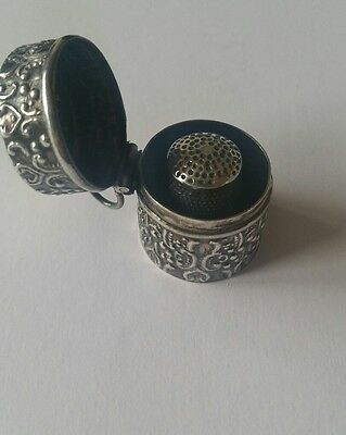 Vintage Sterling Silver Thimble Case And Thimble