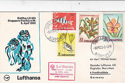 Singapore 1965 Lufthansa LH691 First Flight cover to Frankfurt Germany Cover