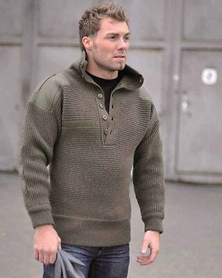 Oesterr.Alpin Pullover Wolle oliv, Troyer, Sweatshirt, Outddor, Military   -NEU-