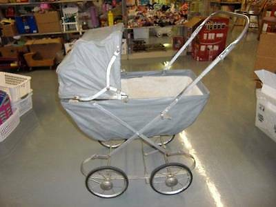 Vintage 1940's Baby Doll Rocking Buggy Stroller Carriage Toy, Silver Vinyl Metal