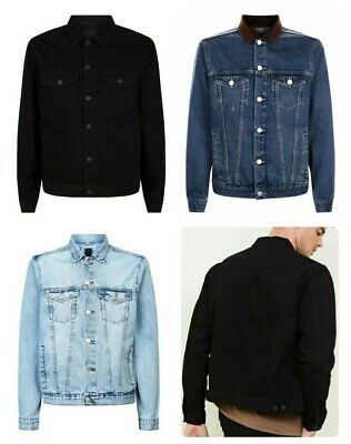Men`s NEW LOOK Denim Jacket Sizes XS-S-M-L-XL-2XL Cord Collar - New with Tags