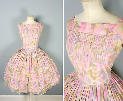 50s ORIGINAL VINTAGE JUNIOR VOGUE PINK FLORAL FULL SKIRT DRESS WITH CAGE NECK 12