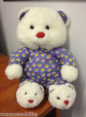 Cute White Bear In Purple Floral All In One With White Bear Slippers By Pms