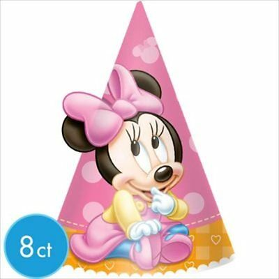 MINNIE MOUSE 1ST BIRTHDAY CONE HATS 8 Party Supplies Favors Pink First Girl