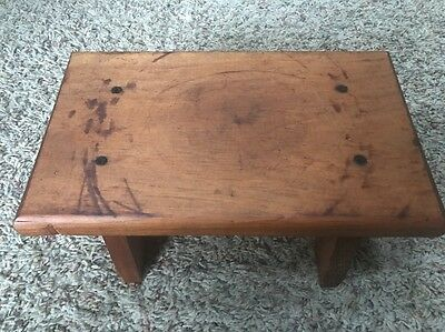"""Small Vtg Wooden Bench Stool Solid Wood Farm House Estate Country Decor 11 x 6"""""""