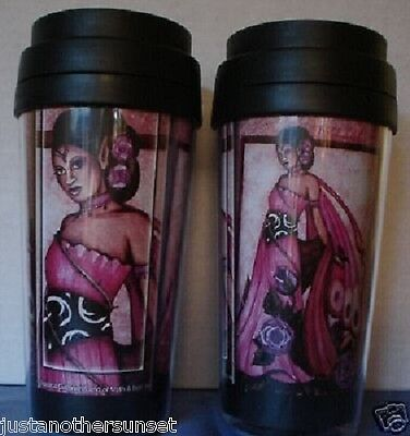 Jessica Galbreth Lavender Rose Fairy Purple Travel Mug faery coffee Lavendar NEW