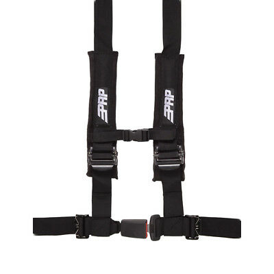 """PRP Seats 2"""" 4-Point Safety Harness with Auto-Style Latch & Sewn In Pads Black"""