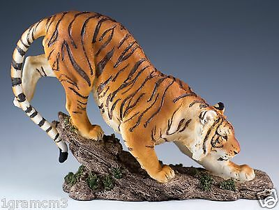 """Bengal Tiger On Rocks Figurine Resin 7.5"""" Long - Highly Detailed - New In Box"""