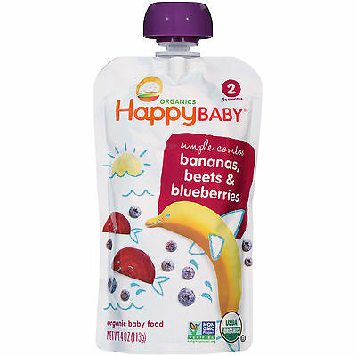 Happy Baby Organics 2 Simple Combos Bananas, Beets & Blueberries 8 - 4oz Pouches
