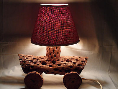 1950s Cactus Craft Cholla Wood Southwest Western Covered Wagon Car Lamp w/ Shade