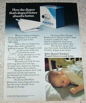 1974 print ad - Kimbies Diapers - baby-shaped Diaper vintage 1-PAGE ADVERTISING