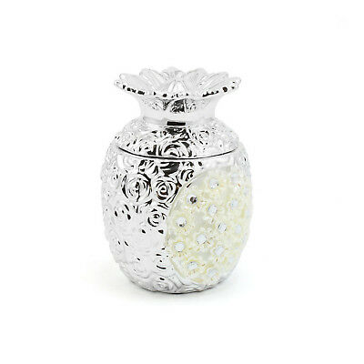 Silver Mille Fleurie Pineapple Fruit Shaped Tropical Figurine Ornament Storage