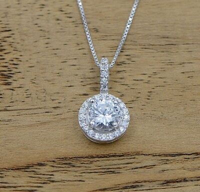Sterling Silver Micro Pave Round Cubic Zirconia Pendant Necklace Chain Gift I25