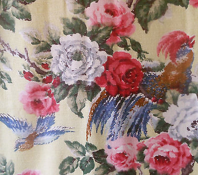 Vintage Romantic Birds and Roses Barkcloth Weave Fabric ~ Pink Red Blue  Yellow