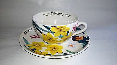Spode Breakfast Duo Oversize Cup & Saucer, Flower of the Month FEBRUARY Daffodil