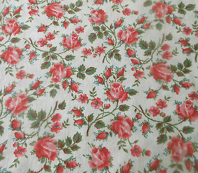 Vintage Roses Cotton Fabric ~ Red Pink Green Cream ~ dolls  quilts clothing etc