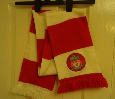LIVERPOOL Football Scarf Red // White Striped Soccer LFC