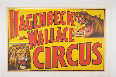 VINTAGE ORIGINAL 1930s HAGENBECK-WALLACE CIRCUS POSTER WITH LION/HIPPO ON LINEN
