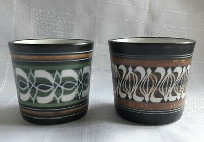 Pair Of Vintage Ambleside Studio Pottery Sgraffito Egg Cups