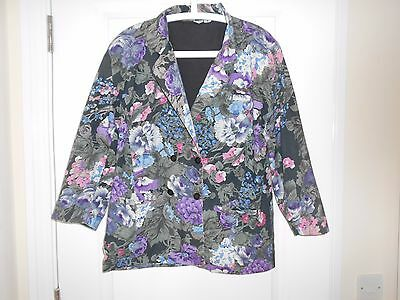 LADIES VINTAGE RETRO 80s OVERSIZED FLORAL COTTON JACKET FITS SIZE 12-14