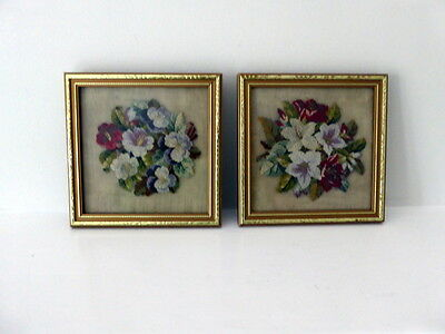 Beautiful Pair Of Miniature Antique Handsewn Needlepoints  Of Flowers ~ Framed